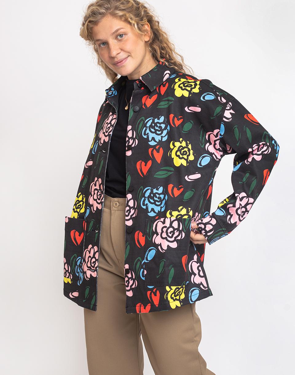 Lazy Oaf Floral Chore Jacket BEIGE L