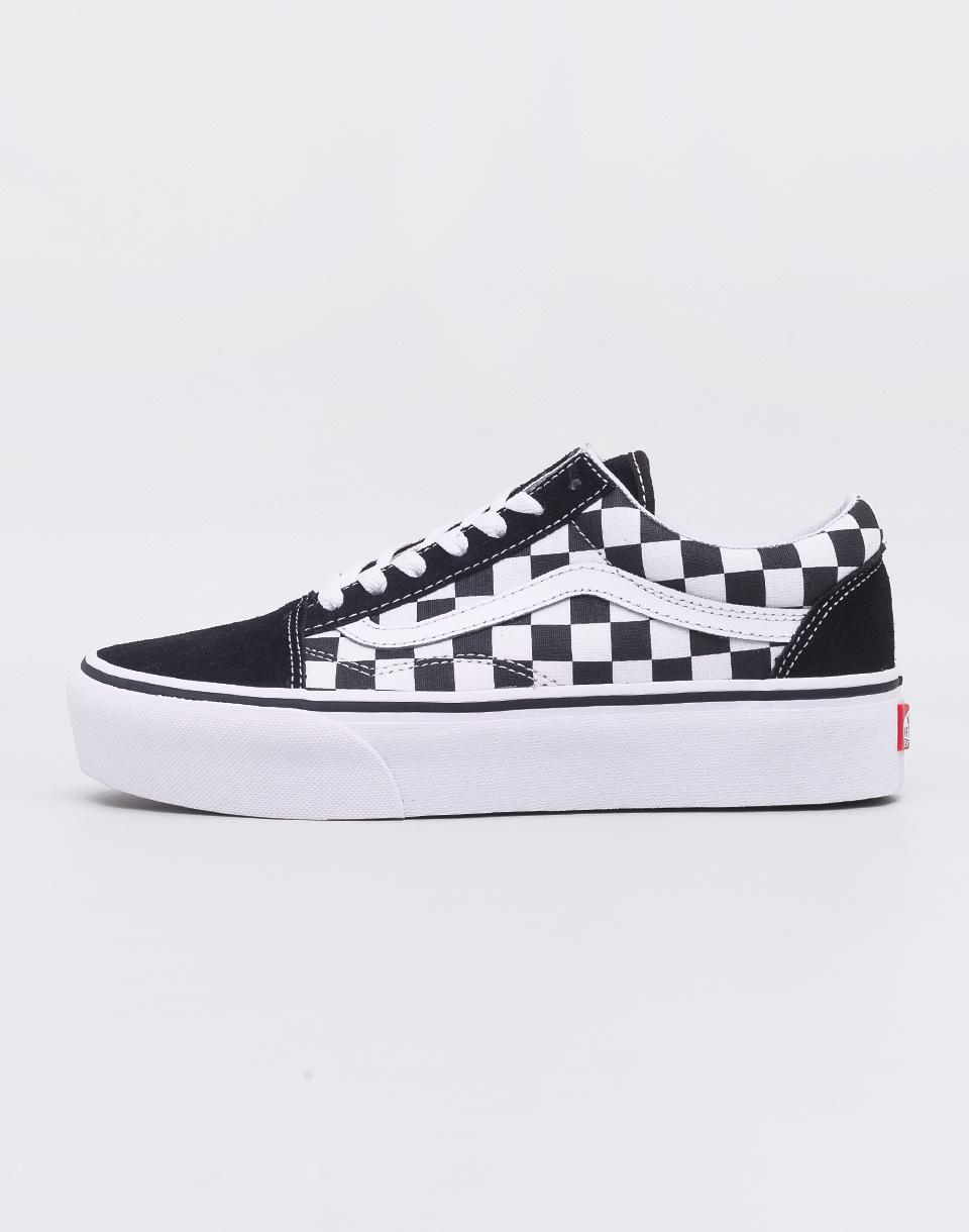 Vans Old Skool Platform (Checkerboard) Black/ True White 36