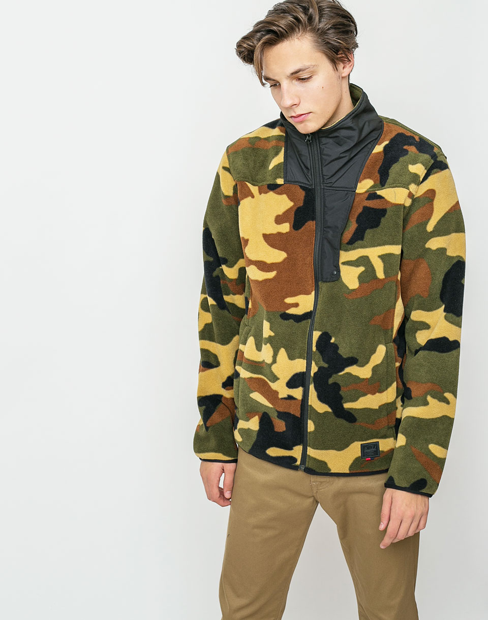 Herschel Supply Fleece Zip Up Woodland Camo/Black L