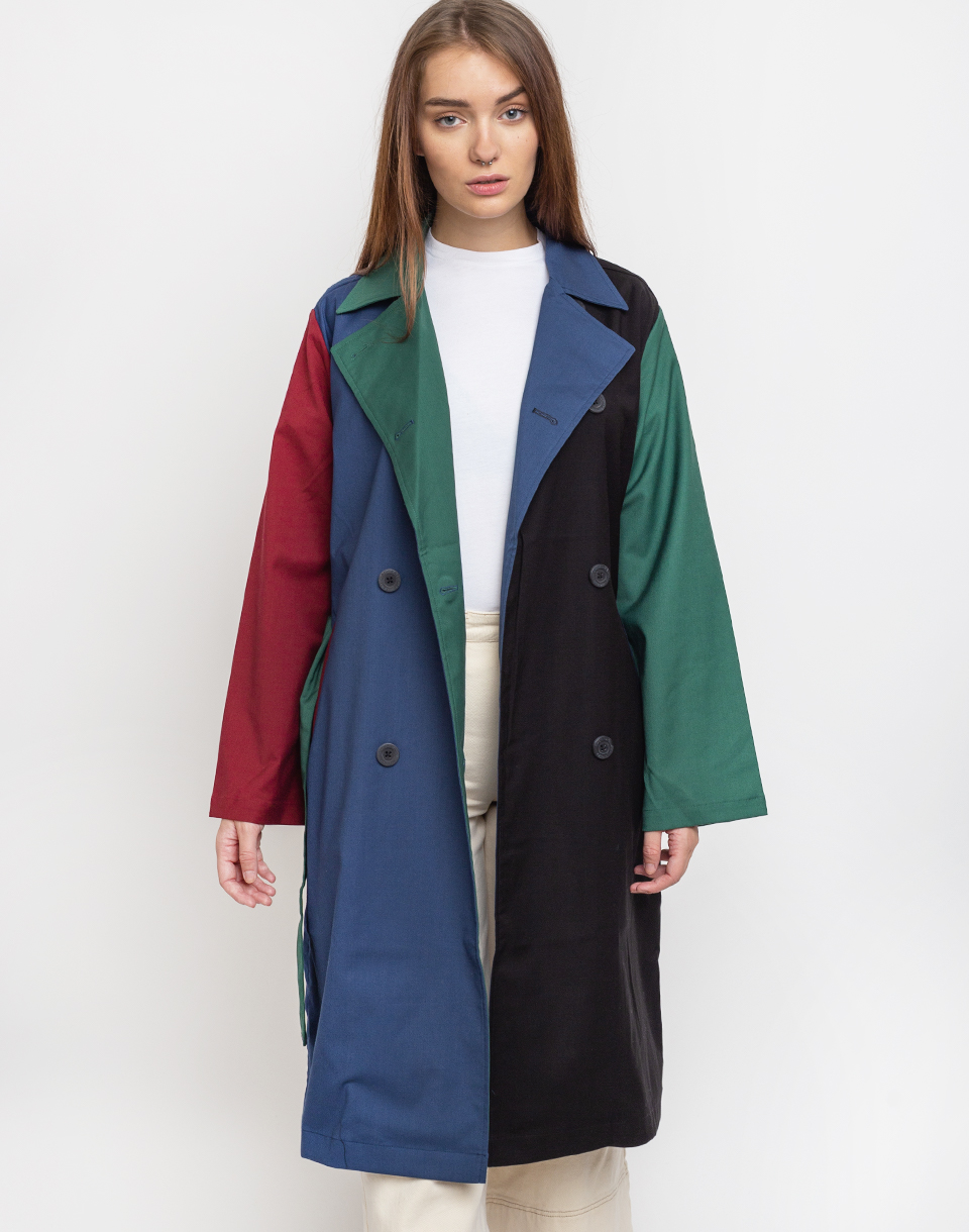 Lazy Oaf Colour Panel Trench Coat Multi L