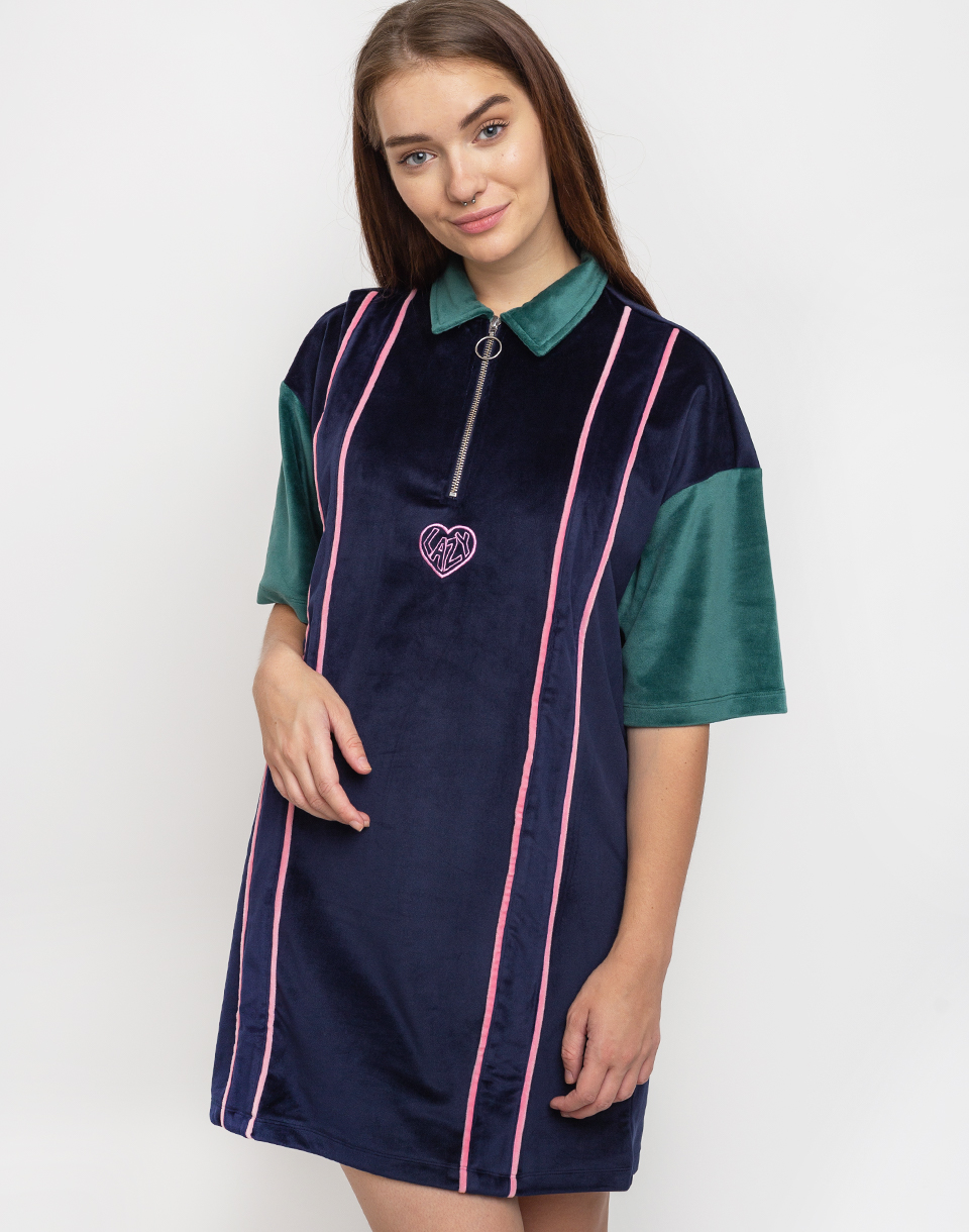 Lazy Oaf Touchy Feely Velour Dress Blue L
