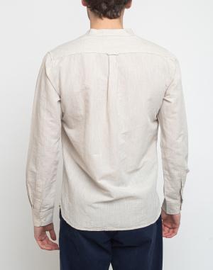 Jednofarebné Knowledge Cotton Larch Long Sleeve Linen Stand Collar Shirt