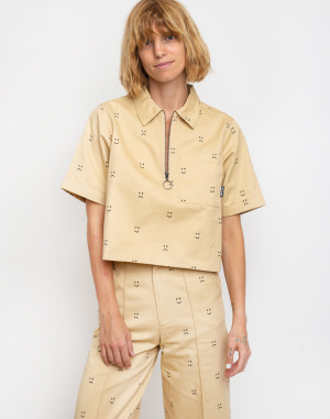 Lazy Oaf - Happy Sad Cropped Zip Shirt