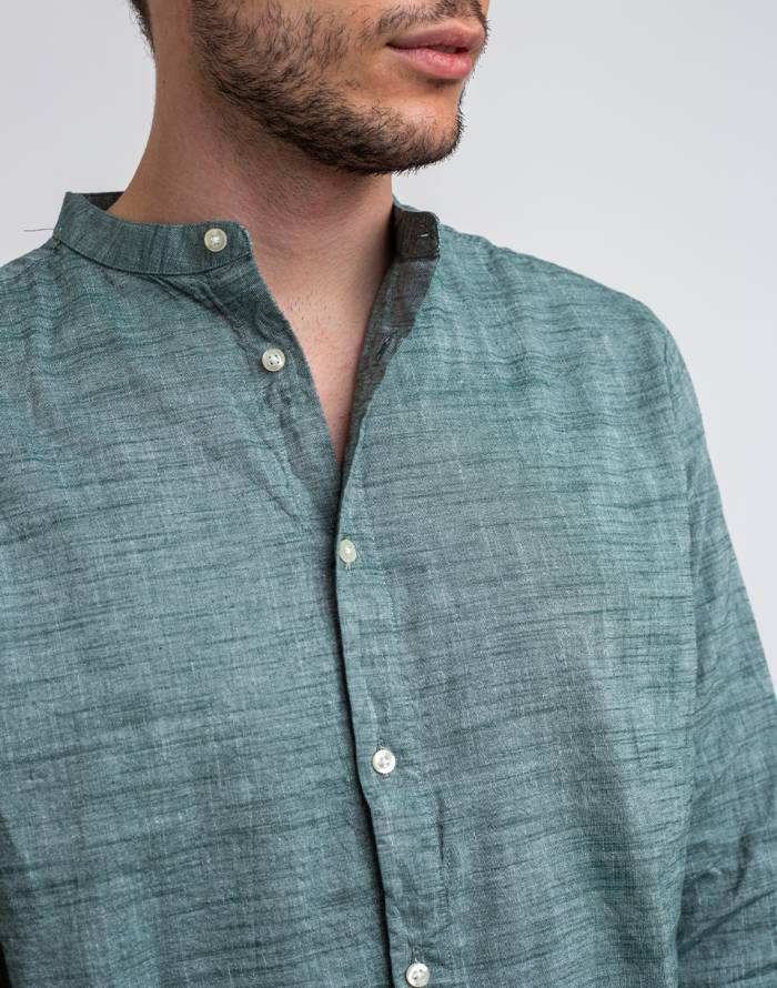 Košela Knowledge Cotton Larch Long Sleeve Linen Stand Collar Shirt